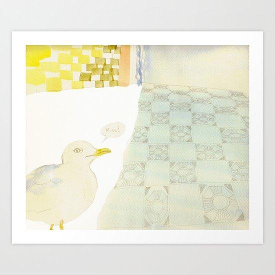 greedy seagull Art Print