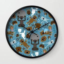 Crazy MonkeyTeddyBears Pattern Wall Clock