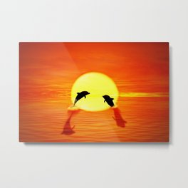 dolphin sunset jump Metal Print