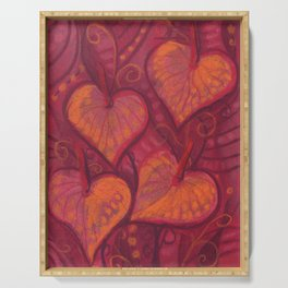 Hearty Flowers / Anthurium, pink, red & orange Serving Tray