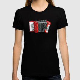 Retro red accordion T-shirt