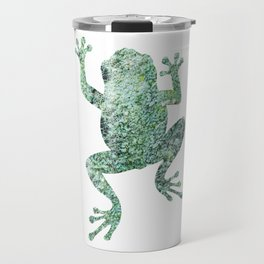 green lichen crawling frog silhouette Travel Mug