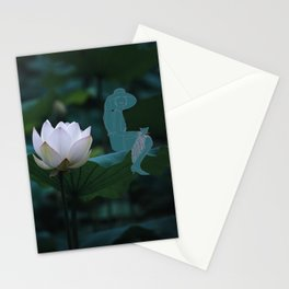 Audrey and the cat on a pink lotus leaf Stationery Cards