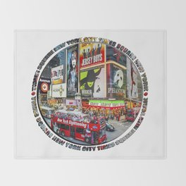 Times Square New York City Badge Throw Blanket