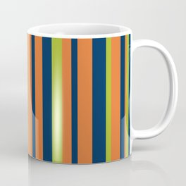 Vertical Stripes in Navy Blue, Orange, and Lime Green Pattern Coffee Mug