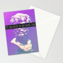 If you wish to be loved, love. Vaporwave Seneca statue Stationery Cards