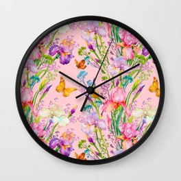 Iris and Butterfly Floral Pattern in Lilac and Pastel Pink Wall Clock