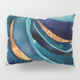 Abstract Blue with Gold Kissenbezug
