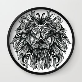 Hand drawn lion illustration print / poster Wall Clock