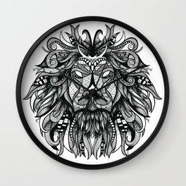 Hand drawn lion illustration print / poster Wall Clock