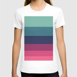 Green & Red Complementary Color Palette Colour Block Stripes T-shirt
