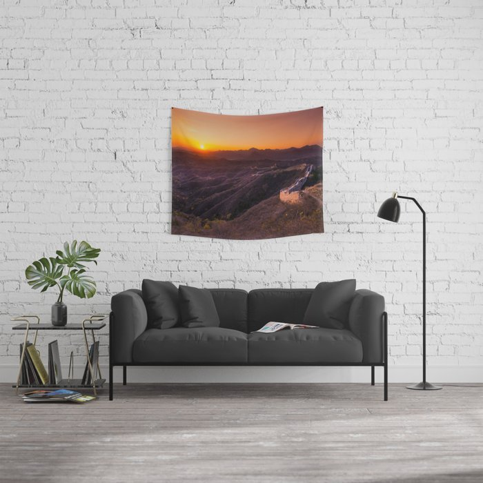 Great wall sunset Wall Tapestry