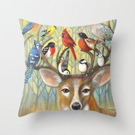 Backyard Friends Throw Pillow