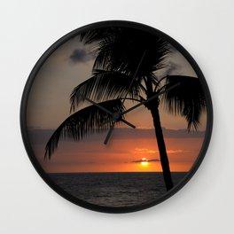 Hawaii sunset palm Wall Clock