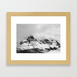 Mountain Minimalism Glacier Alberta | Black and White Photography Framed Art Print