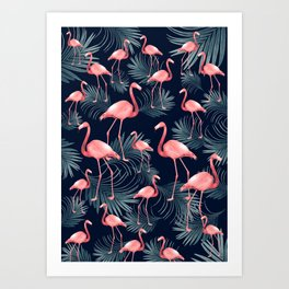Summer Flamingo Palm Night Vibes #1 #tropical #decor #art #society6 Art Print