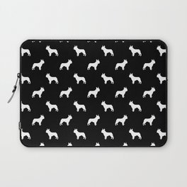 Boston Terrier silhouette black and white minimal dog lover gifts all dog breeds Laptop Sleeve