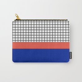 Electric Blue & Coral Orange Colour Block Check Pattern Carry-All Pouch