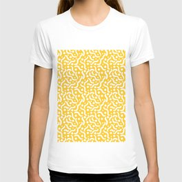 Yellow background with curves and dots. T-shirt