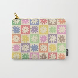 Colorful Flower Checkered Pattern Carry-All Pouch