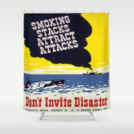 Vintage poster - Don't Invite Disaster Shower Curtain