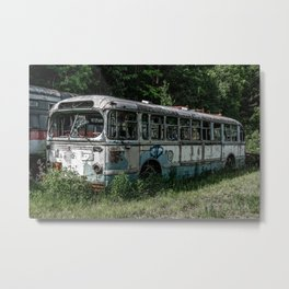 Abandoned Bus Broken and Abused Rusty Car Metal Print