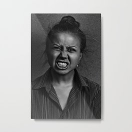 Angry woman on dark background Metal Print