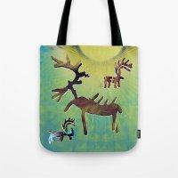 reindeer Tote Bags featuring reindeer by donphil