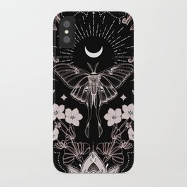 Bohemian Luna Moth On Black iPhone Case