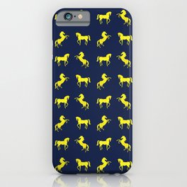 Rearing Horses - yellow and denim blue theme iPhone Case