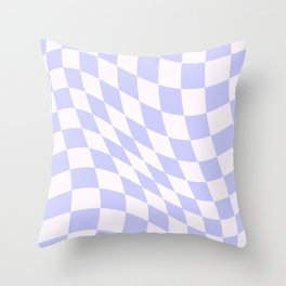 Warped Check - Periwinkle  Throw Pillow