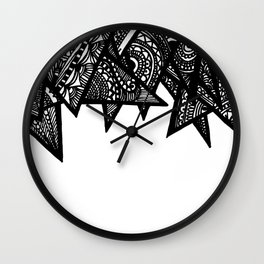 Triangle Henna Print- B+W Wall Clock