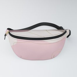 Geometrical ivory pink gold burgundy abstract Fanny Pack
