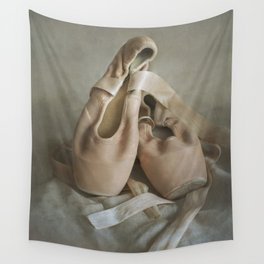 Creamy pointe ballet shoes Wall Tapestry