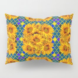 BLOCKS OF YELLOW SUNFLOWERS ON TEAL & PURPLE PATTERN Pillow Sham
