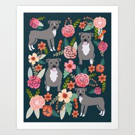Pit Bull Terrier florals must have dog art pet friendly gifts for pit bull owners cute illustration  Art Print
