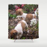 puppies Shower Curtains featuring Puppies In The Garden by Samantha Georga