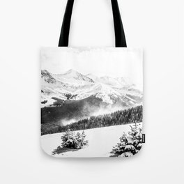 Fresh Snow Dust // Black and White Powder Day on the Mountain Tote Bag