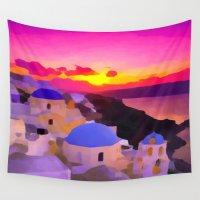 greece Wall Tapestries featuring Greece  by Xchange Art Studio
