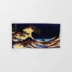 The GREAT Wave Midnight Blue Brown Hand & Bath Towel