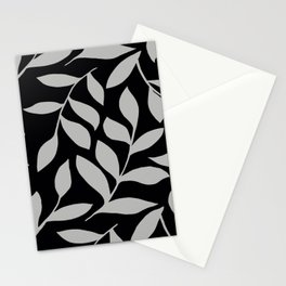 GRAY LEAVES BOUNTIFUL Gray and Black Fashion Stationery Cards