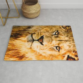 Lion watercolor painting #1 Rug