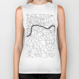 London White on Gray Street Map Biker Tank