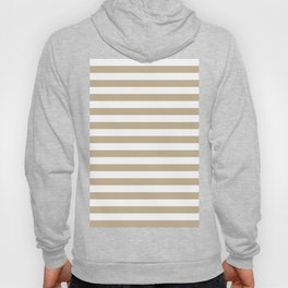 Narrow Horizontal Stripes - White and Khaki Brown Hoody