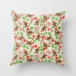 Gingerbread Men & Candy Throw Pillow