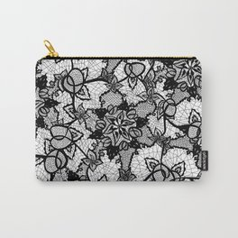 Elegant floral black hand drawn lace pattern Carry-All Pouch