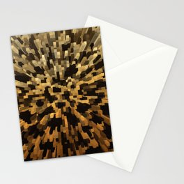Gold and black 3d blocks Stationery Cards