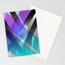 Transparent Abstract Geometric Shapes Purple and Teal Stationery Cards