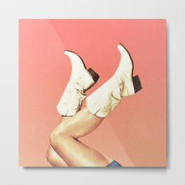 These Boots - Living Coral Metal Print