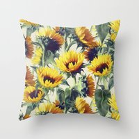 sunshine Throw Pillows featuring Sunflowers Forever by micklyn
